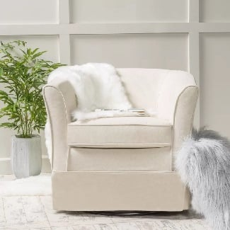 Natural-Sevan-Swivel-Barrel-Chair Coastal Accent Chairs & Beach Accent Chairs