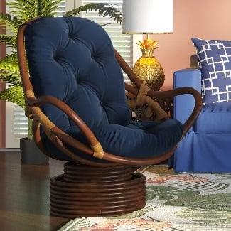 Navy-Cotton-Twill-Jimena-Swivel-33-Papasan-Chair Coastal Accent Chairs & Beach Accent Chairs