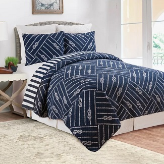 Quilt-2-Shams-Saylor-Reversible-Quilt-Set Nautical Bedding Sets & Nautical Bedspreads