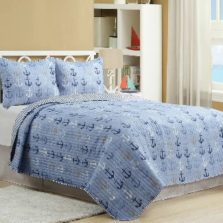 Quilt-Set-3-Additional-Pieces-Haggerty-Anchor-Reversible-Quilt-Set Nautical Bedding Sets & Nautical Bedspreads