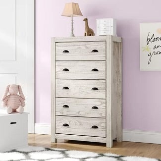 Rustic-Off-White-Montauk-5-Drawer-Chest Coastal Dressers & Beach Dressers