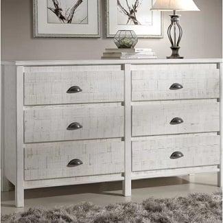Shabby-White-Bedias-6-Drawer-Double-Dresser Coastal Dressers & Beach Dressers