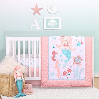 The-Peanutshell-Mermaid-Kisses-Crib-Bedding-Set-for-Baby-Girls Mermaid Crib Bedding and Mermaid Nursery Bedding Sets