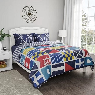 Twin-XL-Slawson-Mariner-Reversible-Quilt-Set Nautical Bedding Sets & Nautical Bedspreads