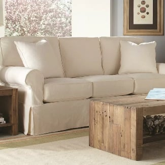 Washed-Canvas-Ivory-Beatty-Cotton-84-Round-Arm-Sofa Coastal Sofas & Beach Sofas