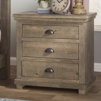 Weathered-Gray-Castagnier-3-Drawer-Bachelors-Chest Coastal Nightstands & Beach Nightstands