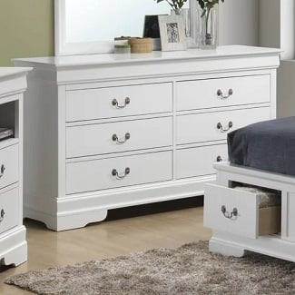 White-Babcock-6-Drawer-Double-Dresser Coastal Dressers & Beach Dressers