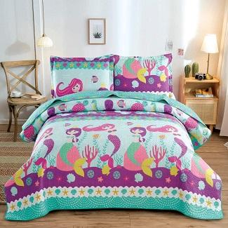 kids-mermaid-quilt-bedspread Mermaid Bedding Sets & Comforter Sets