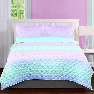 mermaid-girls-quilt Mermaid Bedding Sets & Comforter Sets