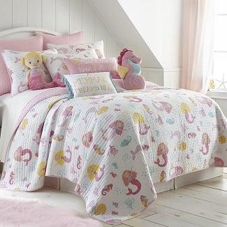 mermaid-quilt-pink Mermaid Bedding Sets & Comforter Sets