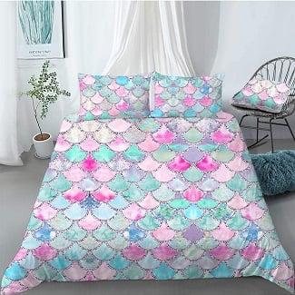mermaid-rainbow-scale-duvet-cover-set Mermaid Bedding Sets & Comforter Sets