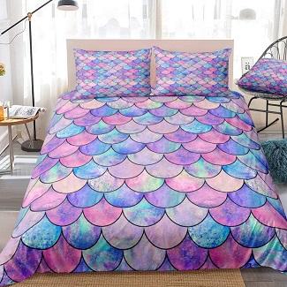mermaid-scale-duvet Mermaid Bedding Sets & Comforter Sets