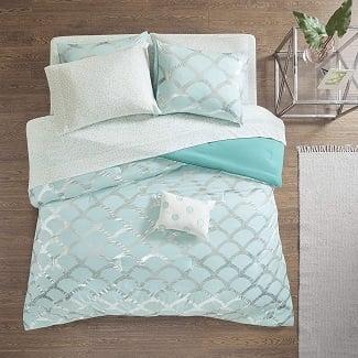 mermaid-scale-teal-comforter Mermaid Bedding Sets & Comforter Sets