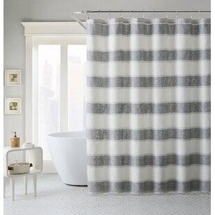 CottonBlendStripedSingleShowerCurtainHooks Beach Shower Curtains & Nautical Shower Curtains
