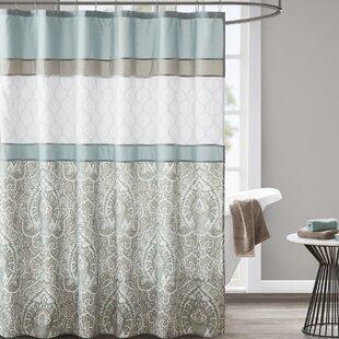 KellerDamaskSingleShowerCurtain Beach Shower Curtains & Nautical Shower Curtains