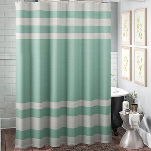 MerrickStripedSingleShowerCurtain Beach Shower Curtains & Nautical Shower Curtains