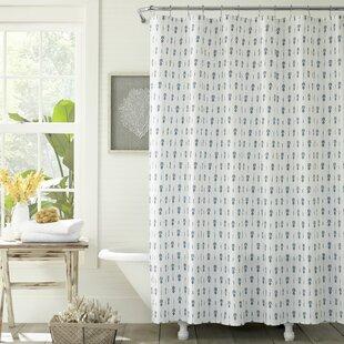 PineapplePinstripeCottonSingleShowerCurtain Beach Shower Curtains & Nautical Shower Curtains