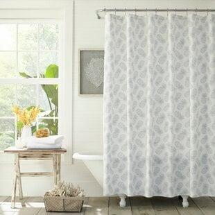 TossedPineappleCottonSingleShowerCurtain Beach Shower Curtains & Nautical Shower Curtains