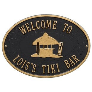 PersonalizedTikiHutPlaqueWallDE9cor Tiki Bar Ideas & Tiki Bar Decorations
