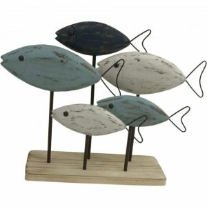 Howie+Wooden+Fish+on+Base+Figurine