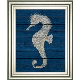 27AntiqueSeahorseonBlueII27FramedGraphicArt Seahorse Wall Art & Seahorse Wall Decor