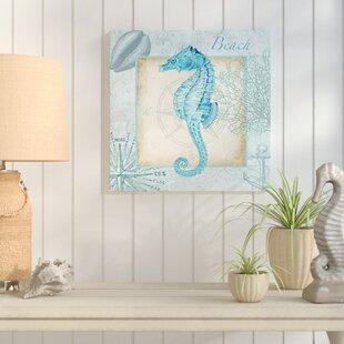 27AquaShell3ASeahorse27GraphicArtPrintonWrappedCanvas Seahorse Wall Art & Seahorse Wall Decor