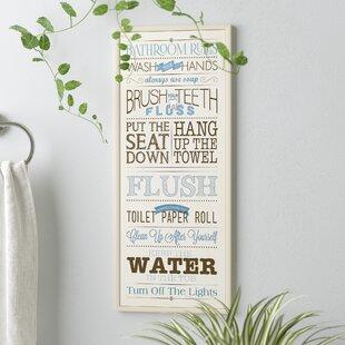 27BathroomRules27-UnframeTextualArtPrintonWood Beach Bathroom Decor & Coastal Bathroom Decor