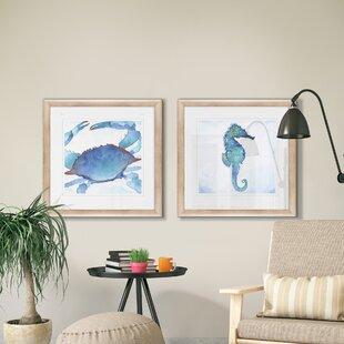 27GalapagosCrab272PieceFramedPrintSet Seahorse Wall Art & Seahorse Wall Decor