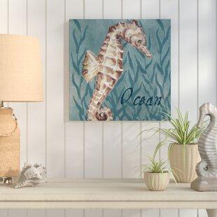 27NauticalCritters3ASeaHorse27GraphicArtPrintonWrappedCanvas Seahorse Wall Art & Seahorse Wall Decor