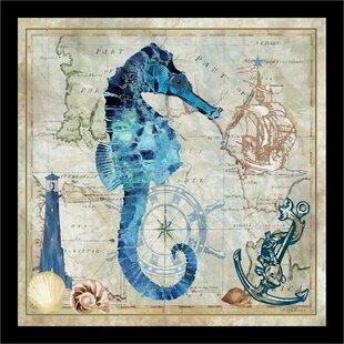 27NauticalSeahorse27MapFramedGraphicArtPrint Seahorse Wall Art & Seahorse Wall Decor
