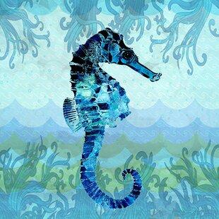 27SeahorseinWaves27GraphicArtonWrappedCanvas Seahorse Wall Art & Seahorse Wall Decor