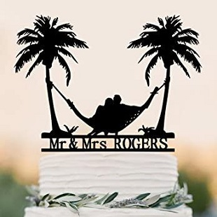 Beach-Theme-Honeymoon-Hammock-Wedding-Cake-Topper-Palm-Trees-Cake-Topper Beach Wedding Cake Toppers & Nautical Cake Toppers