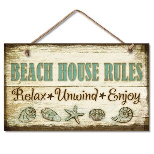 BeachHouseRulesHangingHandcraftedWoodSignWallDE9cor Beach Wall Decor & Coastal Wall Decor