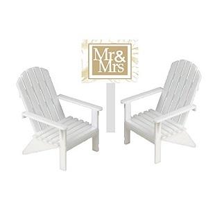 CakeSupplyShop-White-Small-Mini-Decorative-Adirondack-Plastic-Beach-Chair-Wedding-Anniversary-Cake Beach Wedding Cake Toppers & Nautical Cake Toppers