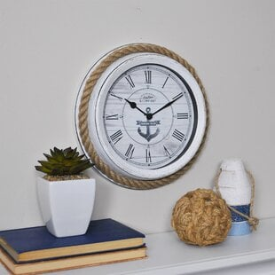 Firstime26Co.AEDockRope1022WallClock Coastal Wall Clocks & Beach Wall Clocks