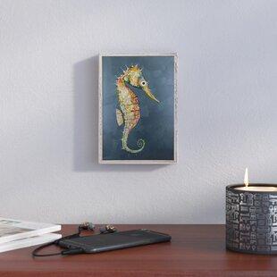 FloatingSeahorseBlue-PictureFrameAcrylicPaintingPrintonCanvas Seahorse Wall Art & Seahorse Wall Decor