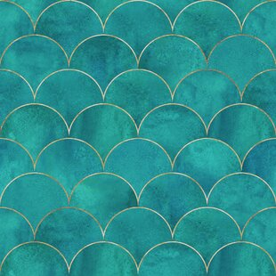 GoncalvesMermaidFishScaleWave1027Lx2422WPeelandStickWallpaperRoll Mermaid Home Decor
