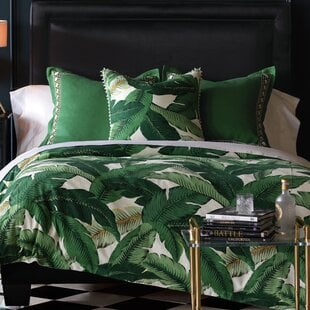 LaniaPalmButtonTuftedSingleComforter Palm Tree Bedding Sets & Comforters & Quilts