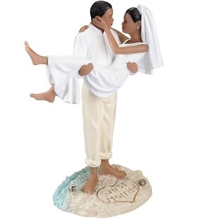 Lillian-Rose-African-American-Beach-Figurine-Wedding-Cake-Topper Beach Wedding Cake Toppers & Nautical Cake Toppers