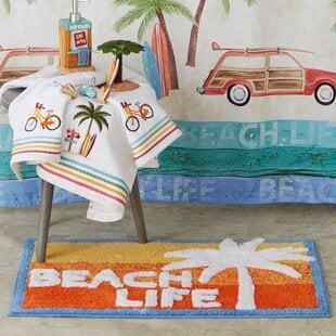 LinaresRectangleCottonBlendFloralBathRug Beach Bathroom Decor & Coastal Bathroom Decor