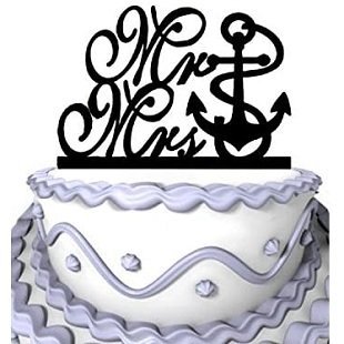 Meijiafei-Anchor-Mr-Mrs-Cake-Topper-Nautical-Beach-Wedding-Cake-Topper Beach Wedding Cake Toppers & Nautical Cake Toppers