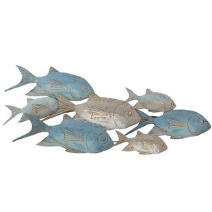 MetalSchoolingFishWallDE9cor Beach Wall Decor & Coastal Wall Decor