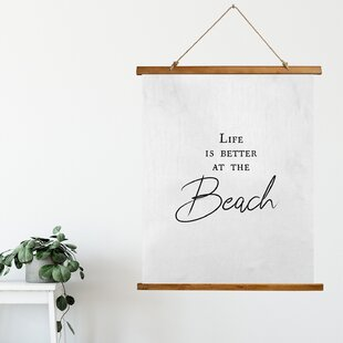 MicrofiberLifeIsBetterattheBeachScrollTapestry Beach Wall Decor & Coastal Wall Decor