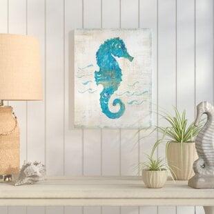 OnTheWaveIIIPaintingPrintonWrappedCanvas Seahorse Wall Art & Seahorse Wall Decor