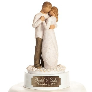 Personalized-Engraved-Willow-Tree-Promise-Wedding-Cake-Topper-By-Wedding-Collectibles Beach Wedding Cake Toppers & Nautical Cake Toppers