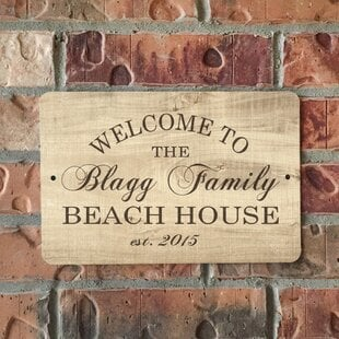 PersonalizedWoodGrain-LookBeachHouseMetalSignWallDE9cor Beach Wall Decor & Coastal Wall Decor