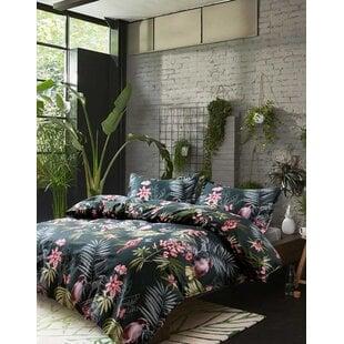 SimonePalmLeavesExoticTropicalFlowersandBirdsDuvetCoverSet Palm Tree Bedding Sets & Comforters & Quilts