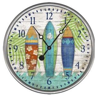 SurfboardsWallClock Coastal Wall Clocks & Beach Wall Clocks