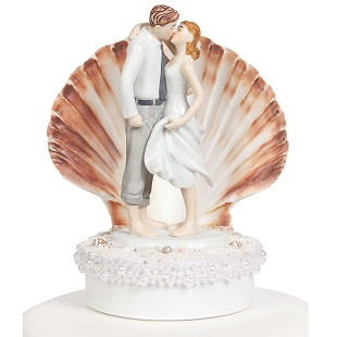 Wedding-Collectibles-Beach-Get-Away-Shell-Wedding-Cake-Topper Beach Wedding Cake Toppers & Nautical Cake Toppers