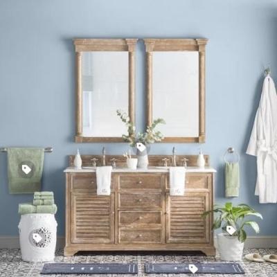 blue-wall-bathroom-12 Beach Bathroom Decor & Coastal Bathroom Decor